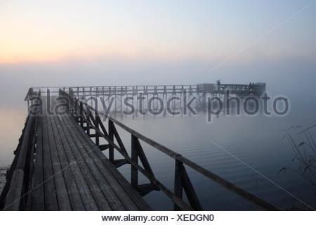 Alla fine del molo del lago Federsee, poco prima dell'alba, Federsee lago vicino a Bad Buchau, nel distretto di Biberach, Uppe Foto Stock