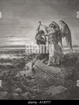 Incisione dall'l'Dore la Bibbia che illustra la genesi xxxii 24 a 32. Giacobbe lotta con l'angelo da Gustave Dore