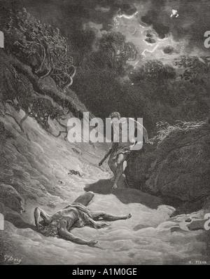 Incisione dall'Dore la Bibbia che illustra la genesi iv 6 a 12. La morte di Abele da Gustave Dore