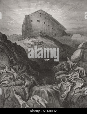 Incisione dall'Dore la Bibbia che illustra la genesi xiii 8 e 9. La Colomba mandò dall'arca da Gustave Dore