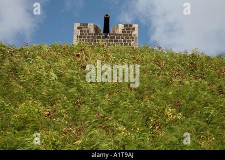 Singolo cannone sulla sommità del fort george cittadella St Kitts caribbean west indies Foto Stock