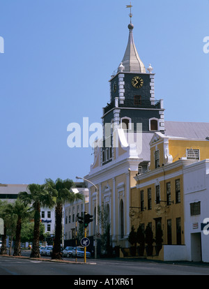 Chiesa Evangelica Luterana 1785 Sextons House 1787 e Martin Melk House Strand Street, Città del Capo, Western Cape, Foto Stock
