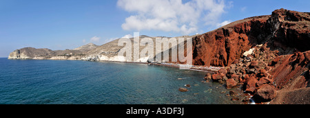 La spiaggia rossa (kokkini amos), Santorini, Grecia Foto Stock