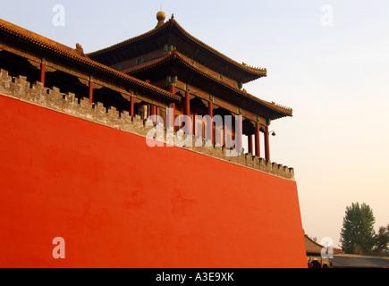 Muro di fortificazione, , la Città Proibita di Pechino CINA Foto Stock