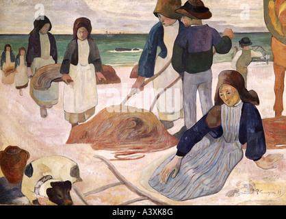 """""""Belle Arti, Gauguin, Paolo, (1848 - 1903), pittura, """"Breton collezionisti di alghe marine"""", 1889, il Museo Folkwang, Foto Stock"""