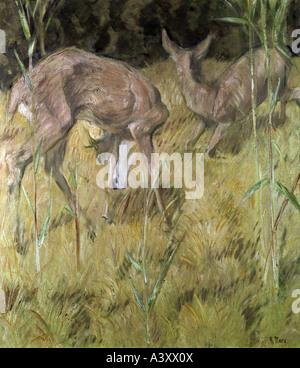 """Belle Arti, Marc Franz, (1880 - 1916), pittura, 'Rehe im Schilf', 'deers nel pettine"", 1909, olio su tela, 88,5 cm x 78,5"