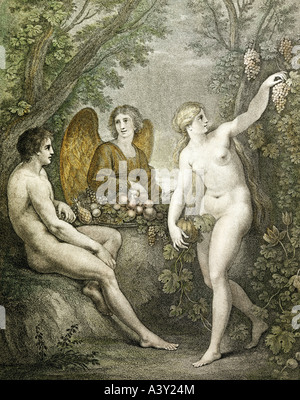 """""""Belle Arti, l'arte religiosa, """"Adamo ed Eva divertente arcangelo Gabriele', con incisione acquatinta, da Francesco Foto Stock"""