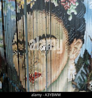 Una tenda a perline con il ritratto del pittore Messicano Frieda Kahlo su di esso Foto Stock