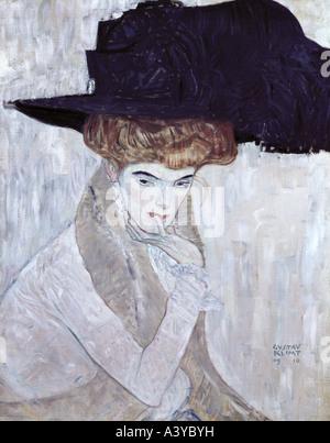 """Belle Arti, Klimt, Gustav, (1862 - 1918), pittura, 'Der schwarze Federhut' ('la piuma di black hat""), 1910, olio su tela,"
