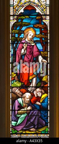 Vegliare e pregare Gesù trova Pietro Giacomo e Giovanni addormentato un dettaglio di una vetrata Abbazia di Bath Foto Stock