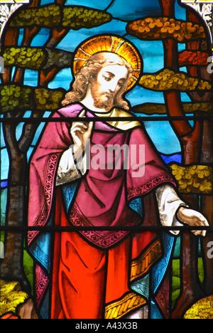 Vegliare e pregare un dettaglio di una vetrata Abbazia di Bath Foto Stock