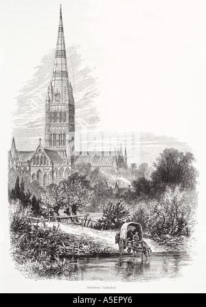 La cattedrale di Salisbury Wiltshire guglia più alto fiume Avon cavallo carrello pastorale cristiana Inghilterra Inglese UK Regno Unito GB grande