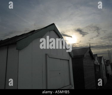 Spiaggia di capanne in Southend on sea essex Foto Stock