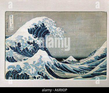 """""""Belle Arti, Katsushika Hokusai (1760 - 1849), """"sotto la grande onda di Kanagawa off', xilografia, circa 1831, H. Foto Stock"""