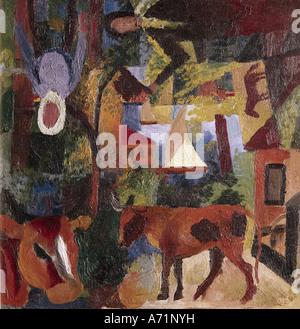 """""""Belle Arti, Macke, Agosto (1887 - 1914), pittura, 'Landschaft mit Kühen, Segelboot und Figuren',('paesaggio con mucche, vela"""