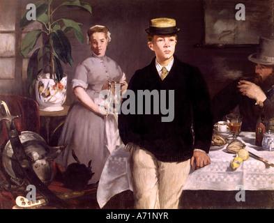 """""""Belle Arti, Manet, Edouard, (1832 -1883), pittura, 'Le dejeuner dans l' atelier' ('la prima colazione presso lo Foto Stock"""