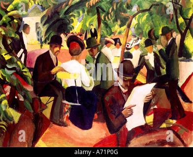 """Belle Arti, Macke, Agosto (1887 - 1914), pittura, 'Gartenrestaurant (ristorante nel giardino)', (""garden restaurant'), 1912, olio su tela, 81 cm x"