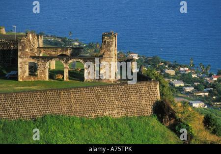 Brimstone Hill Fortress, sull'isola caraibica di Saint Kitts Foto Stock