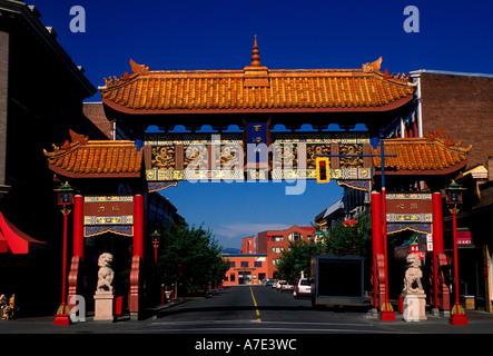 Gate di interesse armonioso, Chinatown, la città di Victoria, l'isola di Vancouver, British Columbia, Canada Foto Stock