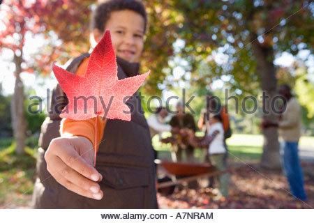 Multi famiglia generazionale la raccolta di foglie di autunno in giardino focus su boy 7 9 azienda red maple leaf Foto Stock