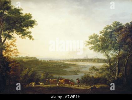 """Belle arti, Dorner, Johann Jakob, il sambuco (1766 - 1813), 'Ansicht von München"""", pittura, 1806, olio su tela, 115,5x162,5 cm, Museo Nazionale Bavarese Monaco di Baviera, , artista del diritto d'autore non deve essere cancellata"""
