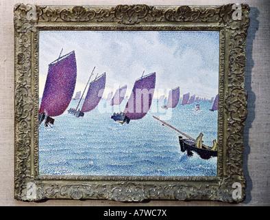 Belle arti, Signac Paul (1863 - 1935), mare mosso, pittura, 1891, olio su tela, 66x62 cm, collezione privata, , artista del diritto d'autore non deve essere cancellata