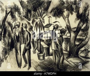 """Belle arti, Macke, Agosto (1887 - 1914), 'Spaziergänger im Park"""", disegno a carboncino, 1913, 31x39 cm, Franz Marc Museum, Kochel am See, , artista del diritto d'autore non deve essere cancellata"""