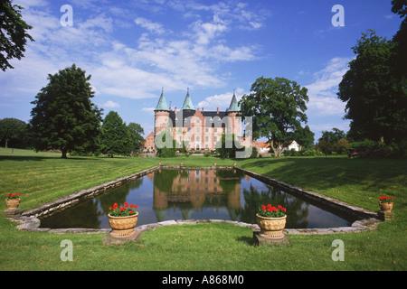 Tenuta privata castello rinascimentale di Trolleholm nella provincia di Skane nella Svezia meridionale Foto Stock