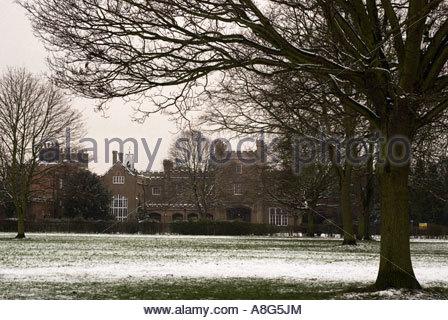 Nonsuch casa nella neve,Nonsuch Park Cheam Surrey in Inghilterra Foto Stock
