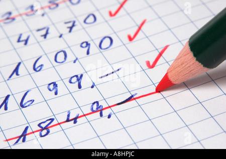 Il taglio dei costi, quantità di denaro vengono cancellati da un elenco utilizzando una matita rossa