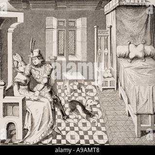 Il cavaliere e la sua signora costumi della Corte di Bordeaux nel XIV secolo Foto Stock