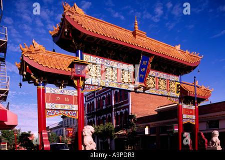 Chinatown, Victoria, BC, Isola di Vancouver, British Columbia, Canada - colorati porta cinese di interesse armonioso Foto Stock