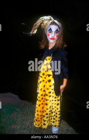 Bambina Candelaria, 7 anni, vestito come un clown Foto Stock