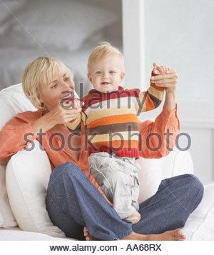 Donna con bambino Foto Stock