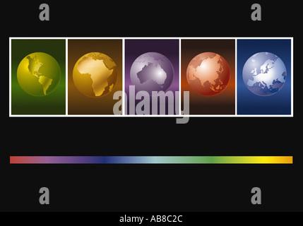 Globi della terra Foto Stock