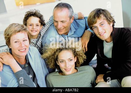 Ritratto di famiglia da tre generazioni Foto Stock