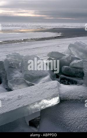 Blocchi di ghiaccio costruire un ripiano sul lago St Clair litorale in Michigan sudorientale Foto Stock