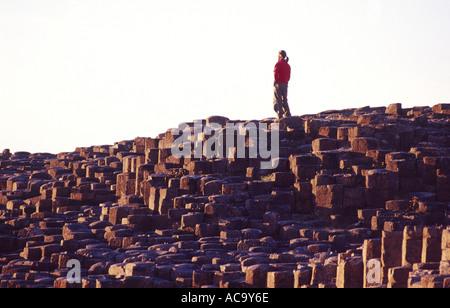 Persona sul esagonale a colonne di basalto dei Giganti Causeway, Co Antrim, Irlanda del Nord