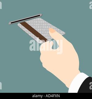 Close-up di una donna in possesso di una carta di credito presso uno sportello ATM