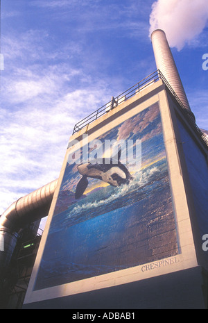 Killer Whale murale nel centro cittadino di Seattle Washington Foto Stock
