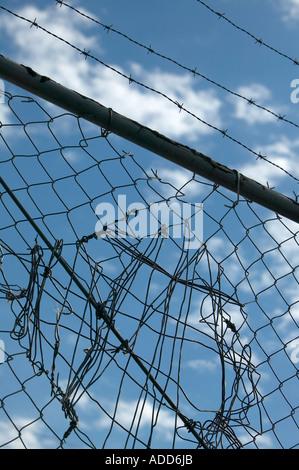 Rammendo catena collegamento recinto con filo spinato contro il cielo blu e nuvole Foto Stock