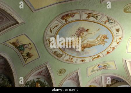 Affresco sul soffitto del Cardinale s camera da letto Il Palazzone Cortona Italia Foto Stock