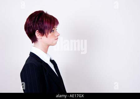 Profilo ritratto di una donna di affari Foto Stock