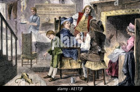 Coloniale olandese la famiglia a casa a New Netherland 1600s. Colorate a mano la xilografia Foto Stock