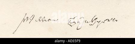Firma di William Shakespeare, 1564 -1616. Inglese poeta e drammaturgo. Foto Stock