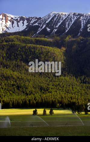 Terreni agricoli vicino a Giuseppe e montagne Wallowa Oregon Foto Stock
