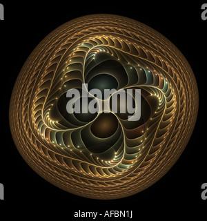 Abstract frattale che assomiglia a un twisted pulsante di rame Foto Stock