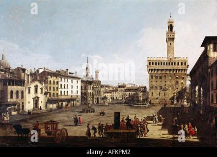 """""""Belle Arti, Bellotto, Bernardo chiamato Canaletto, (1720 - 1780), pittura, """"Piazza della Signoria a Firenze"""", del Foto Stock"""