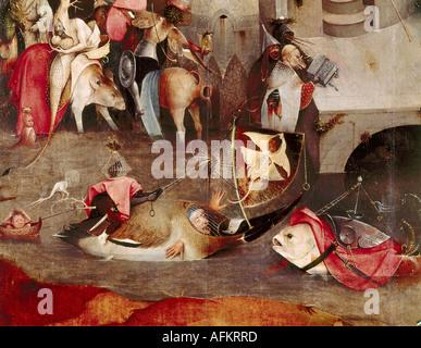 """""""Belle Arti, Bosch Hieronymus, (circa 1450 - 1516), pittura, """"la tentazione di Sant Antonio', pannello centrale, dettaglio, 1505 - Foto Stock"""