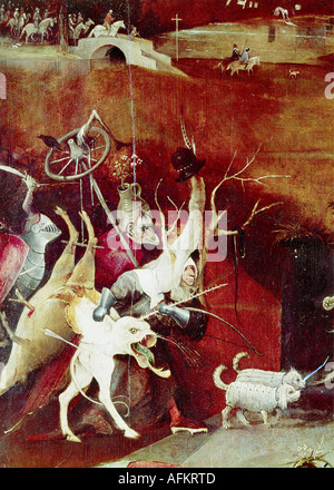 """""""Belle Arti, Bosch Hieronymus, (circa 1450 - 1516), pittura, """"la tentazione di Sant Antonio', pannello centrale, Foto Stock"""